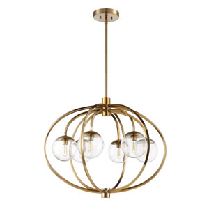 Piltz Satin Brass 30-Inch Six-Light Pendant