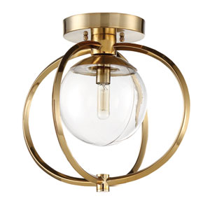 Piltz Satin Brass 15-Inch One-Light Semi-Flush