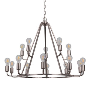 Arc Polished Nickel 35-Inch Fifteen-Light Chandelier