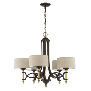 Colonial Antique Gold and Bronze 29-Inch Five-Light Chandelier