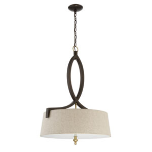 Colonial Antique Gold and Bronze 22-Inch Three-Light Pendant