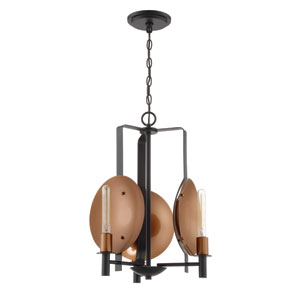 Candela Matte Black and Satin Copper 17-Inch Three-Light Chandelier