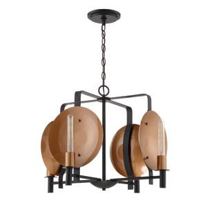 Candela Matte Black and Satin Copper 25-Inch Four-Light Chandelier