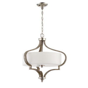 Jasmine Polished Nickel and Weathered Fir 22-Inch Three-Light Pendant
