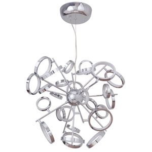 Mira Chrome 28-Inch LED Chandelier with Frosted Acrylic