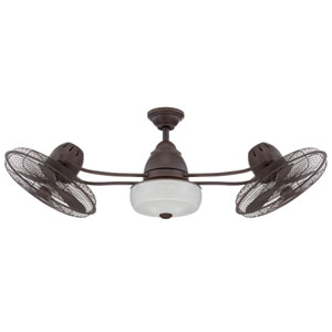 Bellows Aged Bronze Textured 48-Inch Dual Ceiling Fan with LED Light Kit