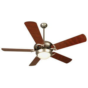 Civic Brushed Nickel Ceiling Fan with Cherry Blades and LED Light Kit