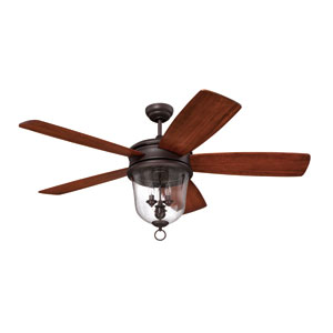 Fredericksburg Oiled Bronze Gilded Ceiling Fan with 60-Inch Fredericksburg Walnut Blades and Integrated Clear Seeded Glass Bowl Light Kit