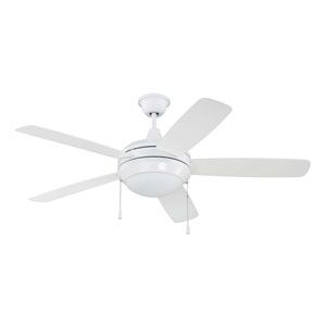 Helios White 52-Inch Two-Light Ceiling Fan with Five Blades
