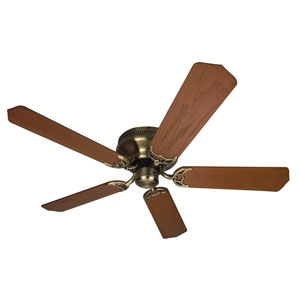 Contemporary Flushmount Antique Brass Ceiling Fan with 52-Inch Custom Wood Dark Oak Blades