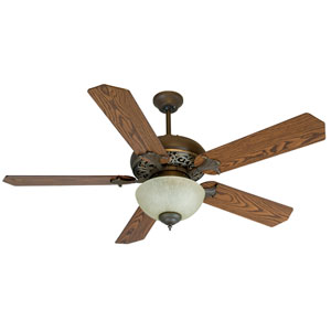 Mia Aged Bronze/Vintage Madera Ceiling Fan with 52-Inch Standard Reversible Dark Coffee/Dark Oak Blades and Tea-Stained Bowl Light Kit.
