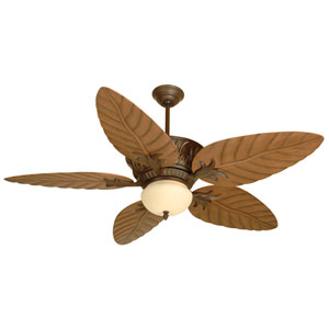 Pavilion Aged Bronze Ceiling Fan with 54-Inch Outdoor Tropic Isle Light Oak Blades
