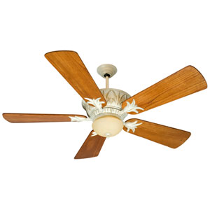 Pavilion Antique White Distressed Ceiling Fan with 54-Inch Premier Distressed Teak Wood Blades