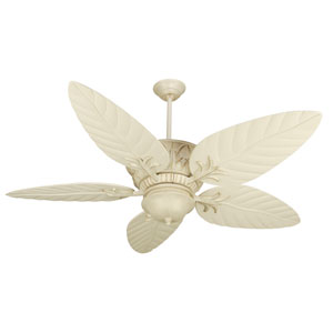 Pavilion Antique White Distressed Ceiling Fan with 54-Inch Outdoor Tropic Isle Antique White Blades