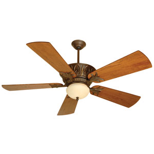 Pavilion Aged Bronze Ceiling Fan with 54-Inch Premier Distressed Teak Blades