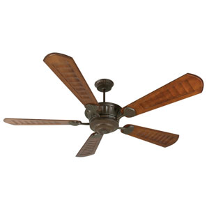 DC Epic Aged Bronze Ceiling Fan with 70-Inch Custom Carved Scalloped Walnut Blades
