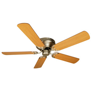 Contemporary Flushmount Brushed Nickel Ceiling Fan with 52-Inch Plus Series Light Oak Blades