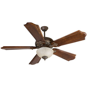Mia Aged Bronze/Vintage Madera Ceiling Fan with 56-Inch Custom Carved Classic Ebony Blades and Included Tea-Stained Bowl Light Kit