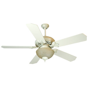 Mia Antique White Distressed Ceiling Fan with 52-Inch Standard Antique White Blades and Tea-Stained Light Kit