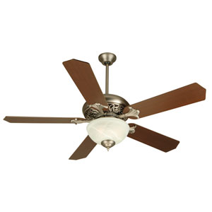 Mia Pewter Ceiling Fan with 52-Inch Standard Reversible Dark Coffee/Dark Oak Blades and Alabaster Bowl Light Kit