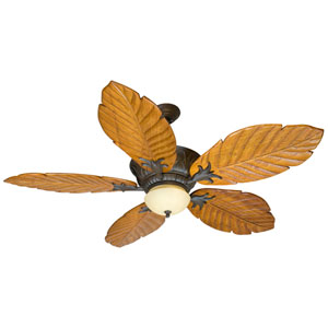 Pavilion Aged Bronze Ceiling Fan with 56-Inch Tropic Isle Philodendron Light Oak Blades