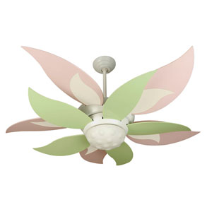 Bloom White Ceiling Fan with 52-Inch Green and Pink Blades