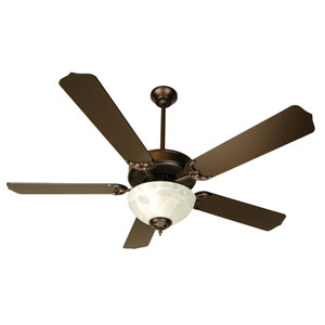 Oiled Bronze Ceiling Fan with 52-Inch Contractors Design Oiled Bronze Blades and Alabaster Bowl Light Kit