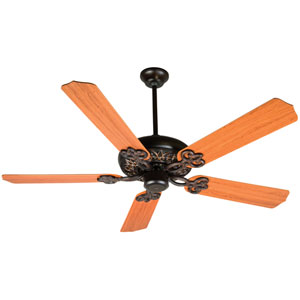 Cecilia Oiled Bronze Gilded Ceiling Fan with 52-Inch Contractors Design Teak Blades