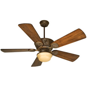 Chaparral Aged Bronze Ceiling Fan with 54-Inch Premier Distressed Oak Blades and Outdoor Bowl Kit