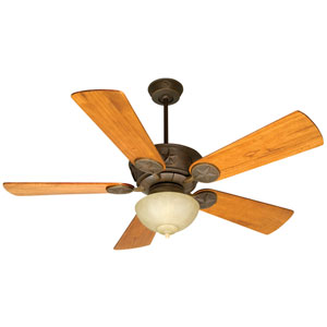 Chaparral Aged Bronze Ceiling Fan with 54-Inch Premier Distressed Teak Blades and Outdoor Bowl Kit