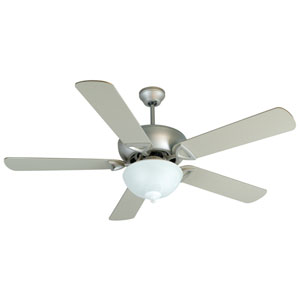 Leeward Brushed Nickel Ceiling Fan with 52-Inch Outdoor Plus Series Brushed Nickel Blades and Bowl Light Kit