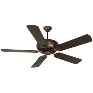 Leeward Oiled Bronze Gilded Ceiling Fan with 52-Inch Outdoor Plus Series Brown Blades