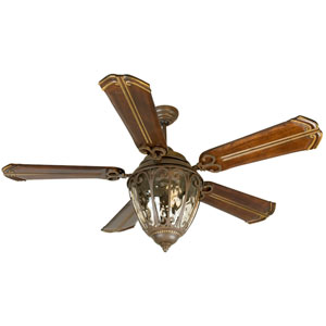 Olivier Aged Bronze Ceiling Fan with 56-Inch Custom Carved Chamberlain Walnut Blades