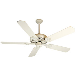 Cecilia Antique White Distressed Ceiling Fan with 52-Inch Contractors Design Antique White Blades