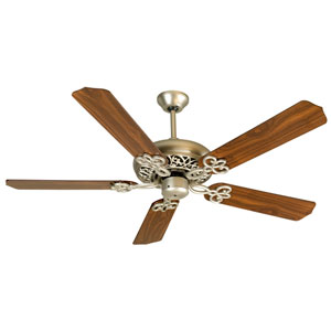 Cecilia Brushed Nickel Ceiling Fan with 52-Inch Contractors Design Walnut Blades