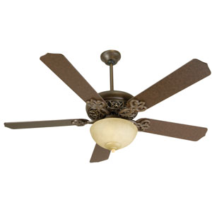 Aged Bronze Ceiling Fan with 52-Inch Contractors Design Aged Bronze Blades and Bowl Light Kit