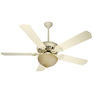 Antique White Distressed Ceiling Fan with 52-Inch Contractors Design Antique White Blades and Bowl Light Kit