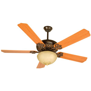 Oiled Bronze Gilded Ceiling Fan with 52-Inch Contractors Design Teak Blades and Bowl Light Kit
