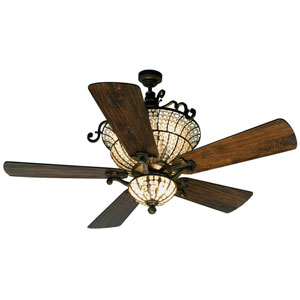 Cortana Peruvian Ceiling Fan with 54-Inch Premier Hand-Scraped Walnut Blades and Light Kit