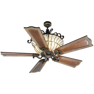 Cortana Peruvian Ceiling Fan with 56-Inch Custom Carved Wellington Walnut Blades