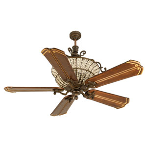 Cortana Peruvian Ceiling Fan with 56-Inch Custom Carved Chamberlain Walnut Blades