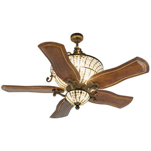 Cortana Peruvian Ceiling Fan with 54-Inch Custom Carved Constantina Walnut Blades and Light Kit