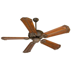 Cordova Aged Bronze Ceiling Fan with 56-Inch Custom Carved Chamberlain Oak Blades