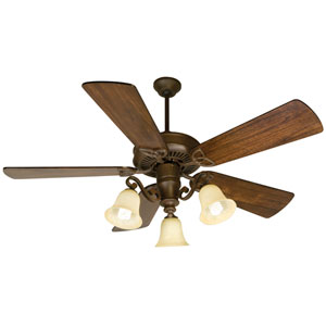 CXL Aged Bronze Ceiling Fan with 54-Inch Premier Distressed Walnut Blades and LED Light Kit
