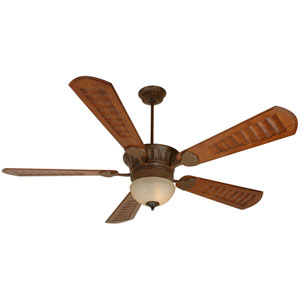 DC Epic Aged Bronze Ceiling Fan with 70-Inch Custom Carved Scalloped Walnut Blades and Outdoor LED Light Kit