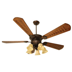 DC Epic Oiled Bronze Ceiling Fan with 70-Inch Custom Carved Scalloped Walnut Blades and LED Light Kit