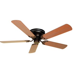 Contemporary Flushmount Oiled Bronze Ceiling Fan with 52-Inch Plus Series Washed Walnut Birch Blades