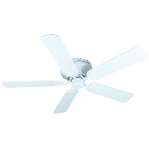 Contemporary Flushmount White Ceiling Fan with 52-Inch Plus Series White Blades