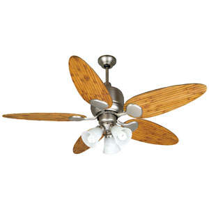 Kona Bay Brushed Nickel Ceiling Fan with 54-Inch Tropic Isle Oak Bamboo Blades and Fitter/Glass