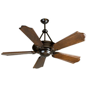Metro Oiled Bronze Ceiling Fan with 56-Inch Custom Carved Classic Ebony Blades
